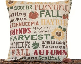 Fall Pillow Cover Cushion Autumn Thanksgiving Pumpkin Acorn Sunflower Leaves Natural Green Red Mustard Brown Repurposed Decorative 16x16
