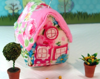Pincushion Little House Pincushion, Rosy Posy, Ready To Ship- Great Mother's Day Gift!