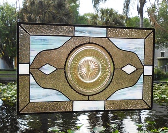 Depression Glass Stained Glass Panel w/ Carnival Glass Plates, Vintage Stained Glass Window Transom, Antique Glass Window Valance