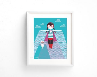 Flying High - Giclee of an original illustration (8 x 10in)