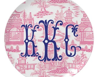 Personalized Chinoiserie Melamine Plate / Pink Chinoiserie Pattern