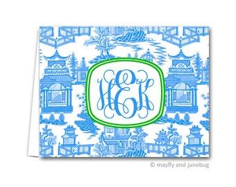 Chinoiserie Blue Personalized Monogram Folded Notes