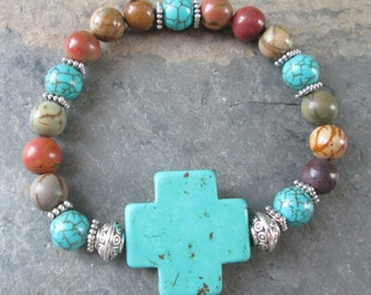 Wholeness - Red Creek Jasper and Turquoise Magnesite bracelet - Bohemian Style, Meditation jewelry