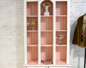 Painted Cottage Chic Shabby White and Pink Handmade Bookcase / Display Cabinet CC667