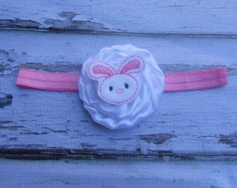 Easter Pink and white satin flower headband  Easter Bunny infant toddler girls headband