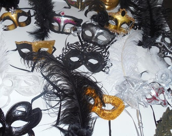 Mask mardi gras feather masks masquerade party favors centerpieces wedding 20 piece lot custom made you choose colors Free shipping