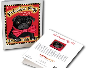 "Pug Art ""Priceless Pug"" 6 Small Greeting Cards by Krista Brooks"