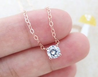 Simple Diamond necklace - Rose Gold necklace, cubic zirconia, bridesmaid jewelry gifts, bridal shower , flowery girl jewelry, wedding