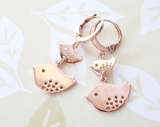 Rose Gold Mother and Daughter Birds Levered back Earrings - gifts for her, mother daugther jewelry baby sister earrings jewelry