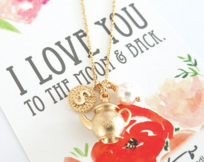 Personalised Initial letter Golden Tea pot Necklace / Alice in wonderland, garden wedding, bridesmaid bridal shower necklace, gifts for her