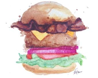 minimalist watercolor print: Bacon Burger