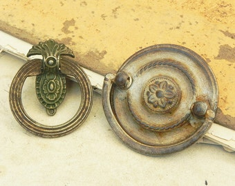 2 Salvaged Vintage Drawer Cabinet Knobs Pulls Handles Vintage Hardware DIY Repurpose