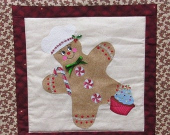 GingerBread Chef Wall Hanging/Table Runner Kit-Applique/Quilting+GB Cookie Bag/Tray/Mix/Potholder-Yum and FUN!!!