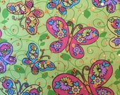 Pink Lime Green Butteflies w/ Metallic and Sparkles fabric by the yard