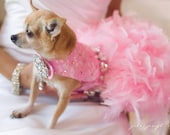 Pink Lace Feather Harness Dog Dress with Crystals - Wedding