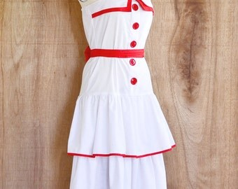 vintage dress • red white print dress • day dress • Small