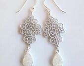 Filigree Druzy Chandelier Earrings- Drusy- Silver- White- Purple- Silver Bezel- Gothic- EGS-DR1
