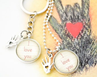 Kissing Hand Necklace or Keychain, Valentine's Day, Back to School, Daughter Gift, Son Gift, Mom Gift