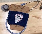 FREE SHIPPING coffee cup cozy, nurse coffee gift, crochet coffee cozy, coffee sleeve, rn nurse thank you gift, registered nurse gift, rn lpn