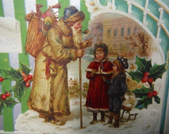 Antique Santa Claus Germany Edwardian Christmas Post Card Saint Nicholas with Children Embossed