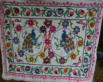 "Gorgeous Floral hand embroidered Peacock Suzani Uzbekistan. 6 ft  x 5 ft 2""  183 x 158 cm. Throw/Wall hanging/Bed cover."