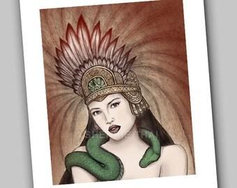Aztec Woman, Snake Goddess, Fantasy Surrealism, Art Print, Sale