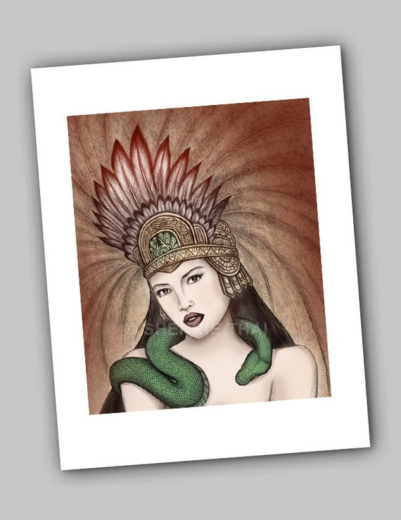 Aztec Woman, Santánico Pandemonium, From Dusk Till Dawn Snake Goddess, Art by Sherrie Thai of Shaireproductions