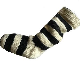 Hand Knit Christmas Stocking Hand Knit Natural White and Black Striped Santa Sock