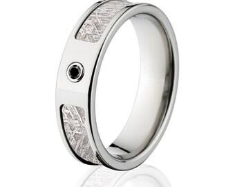 Meteorite Rings, Black Diamond Meteorite Wedding Rings  - Sku: 6F_Bezel_BlkDia_Meteorite