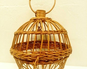 Mid Century Rattan Round Hanging Cage