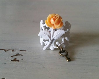 Secret Garden Orange Sorbet Mini Cabbage Rose Filigree Ring with Skeleton Key Charm