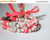Clearance Sale Twillypop Ivy Ribbon and Pearl  Necklace in Tutti Frutti (hot pink) and Gray.  Fashion Jewelry. Ribbon Necklace. Bridesmaid J