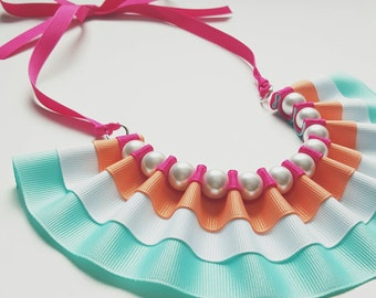 Bib Necklace. Maeve Statement Choker. Ribbon Necklace. Ruffles. Bridesmaid Jewelry. Pearls. Fashion. Colorful. Bright. Gift for Her under 50