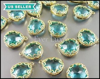 2 aquamarine blue glass charms with scalloped edge setting, aqua & gold glass stone pendant 5045G-AQ