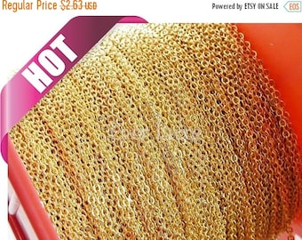15% OFF Best seller! 1 meter 1.7mm x 1.5mm Gold plated flat cable chains, perfect for delicate necklace and bracelets B007-BG