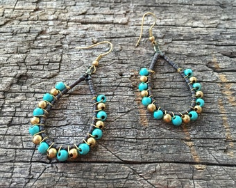 Turquoise Beads Brass Earrings