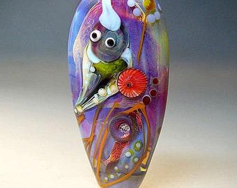 Bird Bead - Lampwork, Focal, Glass Jewelry, Artist handmade lampwork glass bead - Glassartist Manuela Wutschke