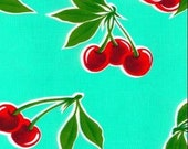 Turquoise Cherry Oilcloth Fabric
