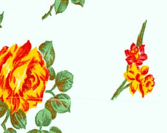 Vintage White Rose Oilcloth Fabric