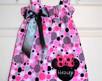 Minnie Mouse Pink and Grey Polka Dot Sundress (extra for personalization)