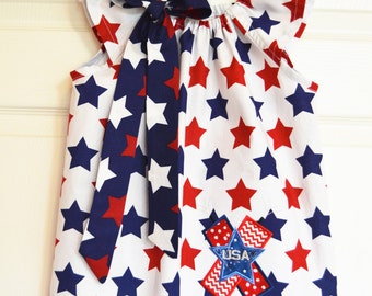 4th of July Firecraker USA Peasant Dress Flutter Sleeves (extra for personalization)