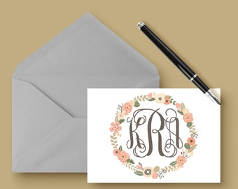 Personalized - MONOGRAM FLORAL WREATH  - Note Card - Personalized Stationery - Stationery Set - Wedding Stationery - Engagement Announcement
