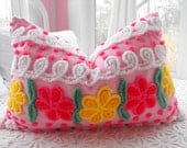 JUST DARLING.... FLUFFY Vintage Chenille And Minky Fabric Pillow Sham
