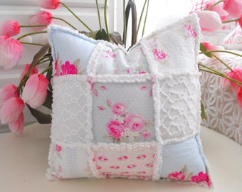 GORGEOUS Shabby Chic Style Pink Roses On Blue And Vintage Chenille Rag Style Pillow