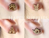 4pcs Mini (SMN25-28) DIY Laser Cut Wooden Earring Charms - SWC Series