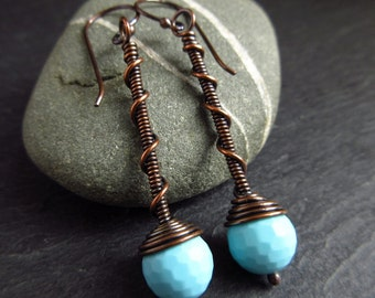Copper earrings with blue glass bead, wirework, antique copper finish, twist and coil design, copper wedding anniversary gift, bead earrings