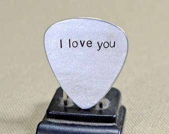 I love you guitar pick handmade in aluminum - GP733