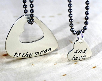 Couples sterling silver guitar pick necklace with heart for love to the moon and back - solid 925 NL085