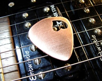 Love Guitar Pick in Copper with Heart Cut Out and Space to Personalize - GP659