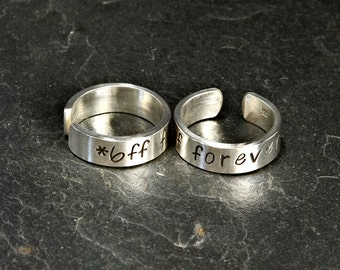 Best Friends Forever Toe Ring Set in Sterling Silver - Solid 925 TR529